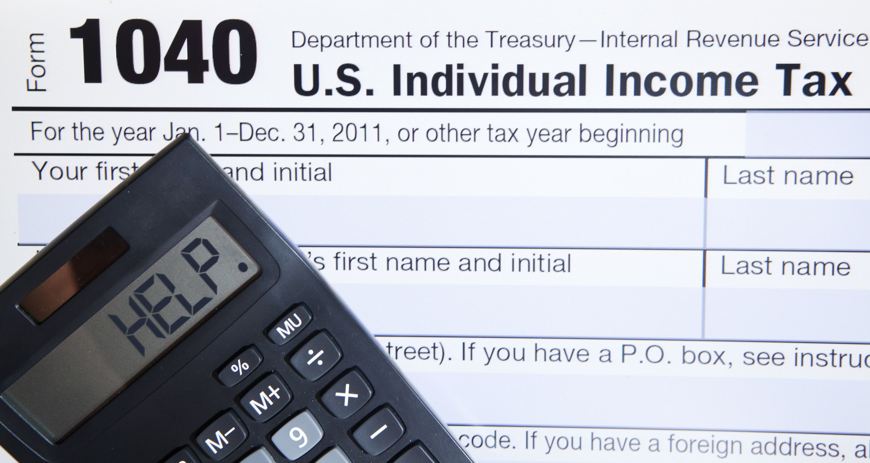 12150231 – electronic tax form 1040 with the help word on calculator