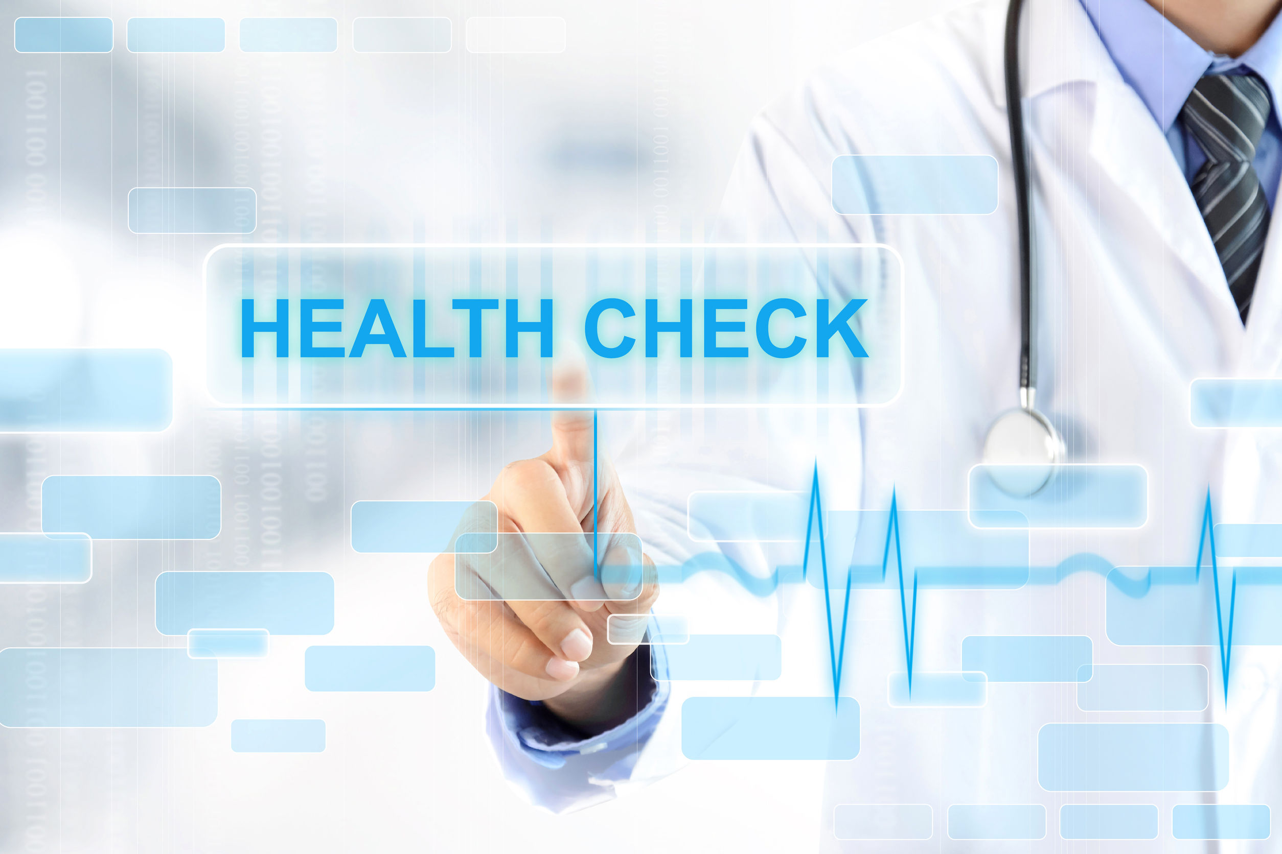 42675181 – doctor hand touching health check sign on virtual screen